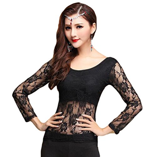Women Belly Dancing Costume Tops Belly Dance Lace Blouse Black M