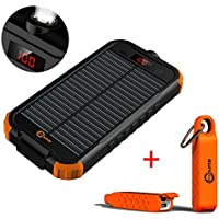 SOLAR SOURCE - Portable Power Bank Charger 14200mAh Dual USB Input, LCD Display - Plus Bonus Waterproof Battery Backup for Cell Phone, iphone, Samsung Galaxy, Android, Travel Emergency Bundle Kit Gift
