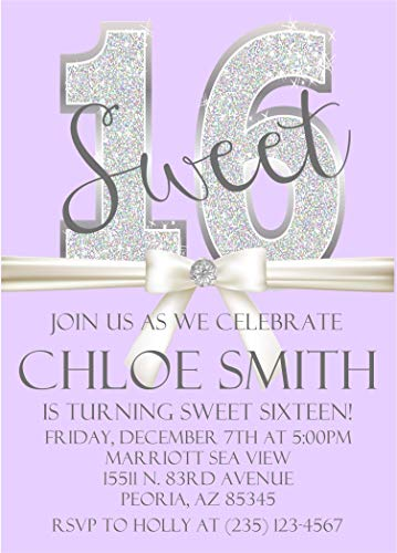 Lavender & Silver Diamonds Sweet 16 Birthday Party Invitations With Envelopes, Lavender Sweet 16 Invitations ()