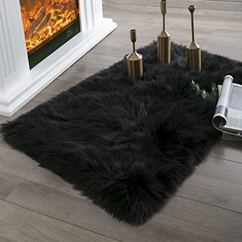 (Ashler Faux Fur Black Rectangle Area Rug Indoor Ultra Soft Fluffy Bedroom Floor Sofa Living Room 2 x 3 Feet)