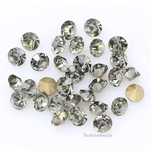 Pukido 144p ss1 1mm Round Assorted Pointed Foiled Back Czech Crystal Faceted Glass Rhinestones Brooch Watch Jewelry Repair Loose Beads - (Color: Black Diamond) from Pukido