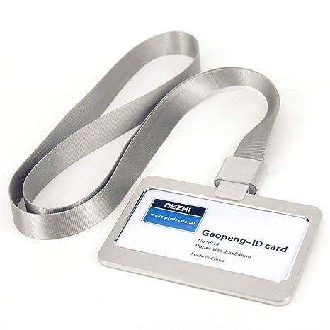 888d3d53bf97 Portabadge in Alluminio con Staccabile Collo Cordino (Argento(55X85MM))