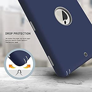 New iPad 2017 9.7 inch Case, Qelus Heavy Duty Rugged Shockproof Three Layer Armor Defender Impact Resistant Protective Case Cover for Apple New iPad 9.7 Inch (2017 Version)-Navy Blue/Grey