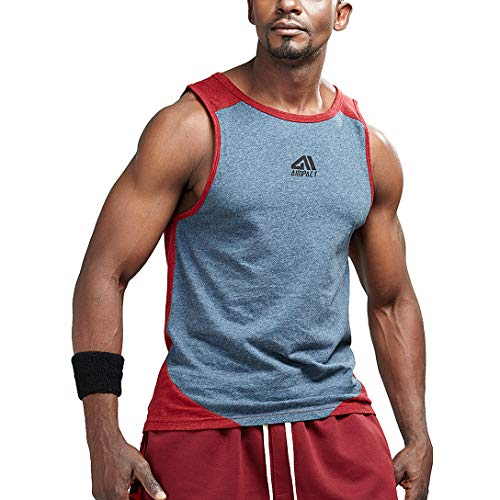 AIMPACT Bodybuilding Clothing Gym Tank Tops for Mens Casual Shirts(Red M)