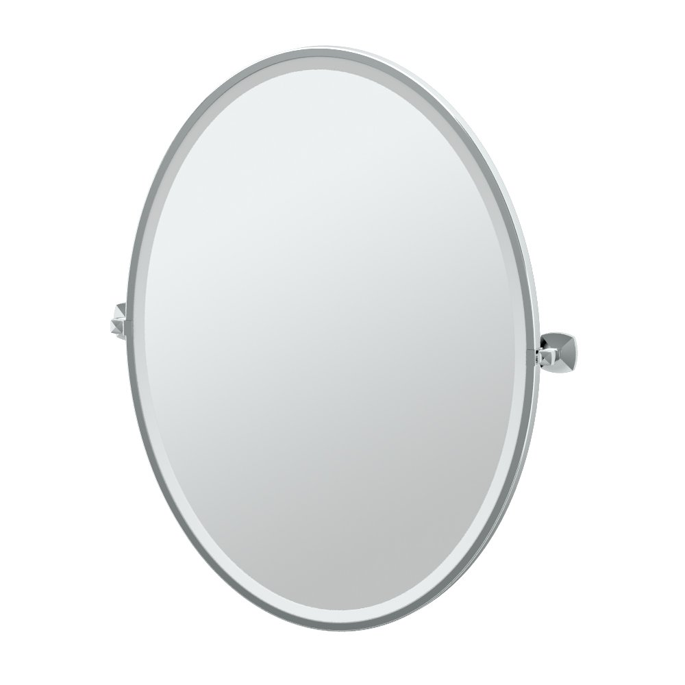 "Gatco 4149FLG Jewel Framed Oval Mirror, Chrome, 33""H"