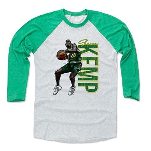 - 500 LEVEL Shawn Kemp Baseball Shirt XXX-Large Green/Ash - Seattle Supersonics Fan Apparel - Shawn Kemp Dunk Name G