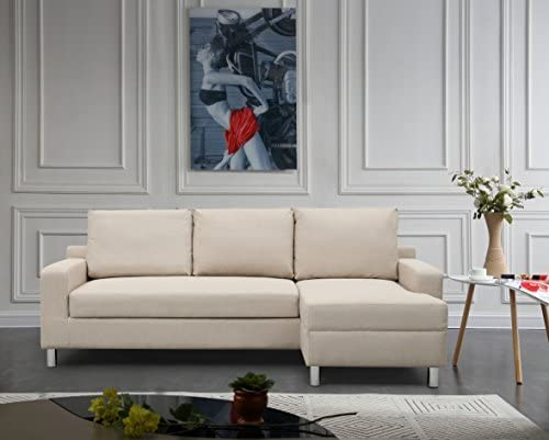 Container Furniture Direct Amelie Linen Upholstered Contemporary Modern Right-Sided Sectional Sofa with Bed, 83.9 , Beige