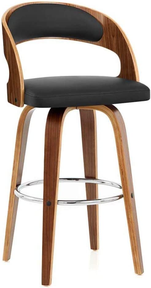 Brown Ergo Furnishings Rex Swivel Barstool Leatherette Seat Solid Wood Legs