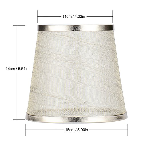 Cleeacc Creative Transparent Lamp Shades for Table Lamps Small Clip on (4x6x5.5in) Chandelier Handmade Modern E14 Screw Lampshade Classic Simple Style Crystal Candle Glass Lamp Shade Cloth Design 1 by Cleeacc (Image #2)