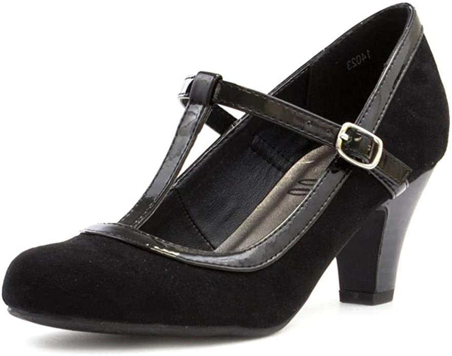 50s Dresses UK | 1950s Dresses, Shoes & Clothing Shops Lilley Womens Black Faux Suede T Bar Court Shoe £14.99 AT vintagedancer.com