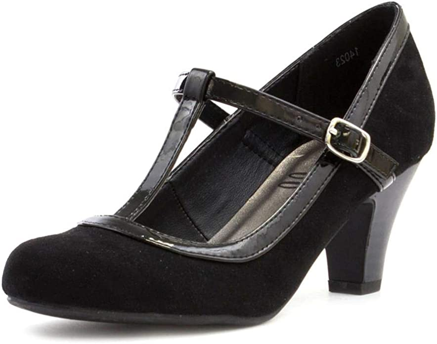 1950s Shoe Styles: Heels, Flats, Sandals, Saddles Shoes Lilley Womens Black Faux Suede T Bar Court Shoe £14.99 AT vintagedancer.com