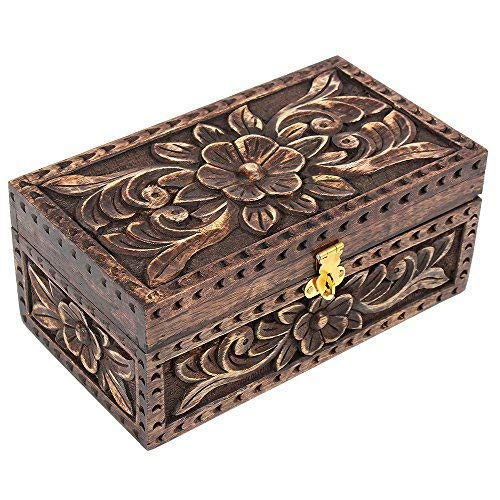 Christmas Day Gifts Jewelry Trinket Box Wooden Small Square Keepsake Box Handcrafted Fine Celtic Inlaid Multipurpose Organizer (Old Jewelry Box) from storeindya