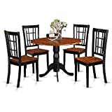 East West Furniture DLNI5-BCH-W 5-Piece Kitchen Nook Dining Table Set, Black/Cherry Finish Review