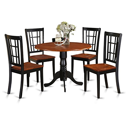 East west furniture dlni5 bch w 5 piece kitchen nook for Black kitchen table set
