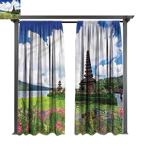 (cobeDecor Outdoor Curtain Balinese Bali Tropic Flowers Sea for Lawn & Garden, Water & Wind Proof W120 xL84)