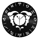 VinylShopUS Gemini Unique Zodiac Fashioned Vinyl Wall Clock For Home Decorative   Unique Gift for Anniversary   Home Decoration