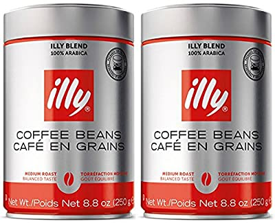 illy Caffe Normale Whole Bean Coffee, Medium Roast, Red Top, 8.8 coffee cans from Illy
