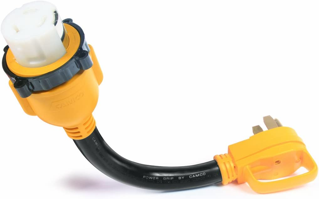 Camco 55552 18 14-50 50 AMP Standard PowerGrip Plug To SS2-50 50 AMP Locking Receptacle Adapter