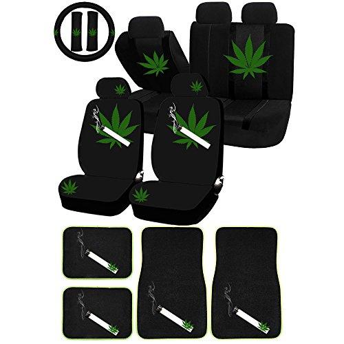 UAA 26pc Mary Jane Weed mota Marijuana Universal Seat Cover Combo Carpet Mat Set