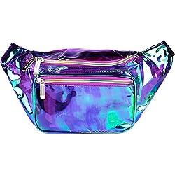 SoJourner Holographic Rave Fanny Pack - Packs for festival women, men | Cute Fashion Waist Bag Belt Bags (Transparent - Purple)