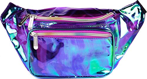 SoJourner Holographic Rave Fanny Pack - Packs for festival women, men | Cute Fashion Waist Bag Belt Bags (Transparent - Purple) - Floral Patent Belt