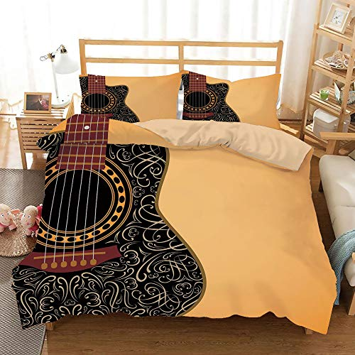 Black Folk Guitar Set - Guitar Khaki Duvet Cover Set Twin/Twin XL Size,Clipped Guitar with Vintage Floral Folk Ornaments Musician Hobbies Decorative,Decorative 3 Piece Bedding Set with 2 Pillow Shams,Pale Orange Black Maroon