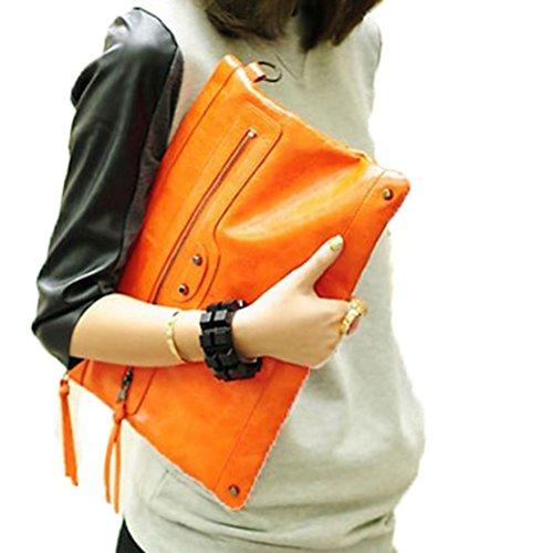 Donalworld Women Vontage Rivet Envelope Bag Motorcycle Day Clutch Faux Leather Shoulder Handbags Orange