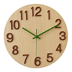 A.Cerco Non Ticking Silent Curve Glass Wall Clock - 12 White Wood