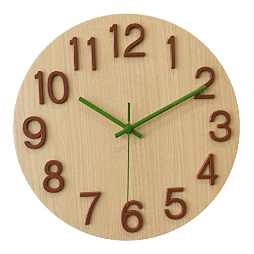 A.Cerco Non Ticking Silent Curve Glass Wall Clock – 12″ White Wood Review
