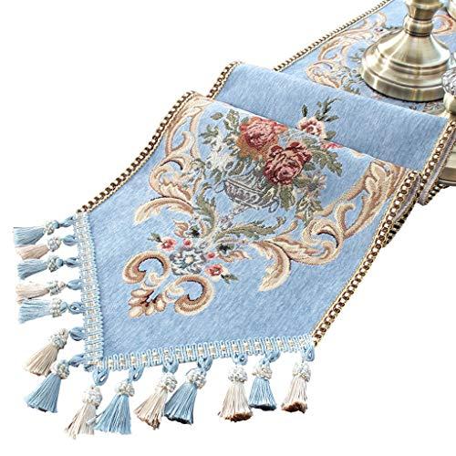 Siyushop Table Runner Flower Handmade Tassel Multi-Tassel Blue Embroidery Table Runner (Color : 30240cm)