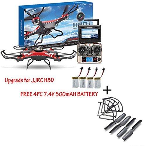 Lookatool® Upgrade JJRC H8D 4CH 5.8G FPV RC Quadcopter Drone HD Camera + Monitor+ 4 Battery+ Free 4pcs Blades Protection + Free Propeller Cover Set by Lookatool
