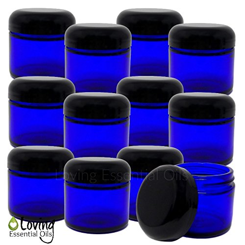 - Loving Essential Oils 2oz Blue Glass Jars With Lids, Easy To Fill & Reuse Containers, Make Homemade Salve, Creams, Lip Scrubs & Oil Blends. DIY RECIPE Guide Included!
