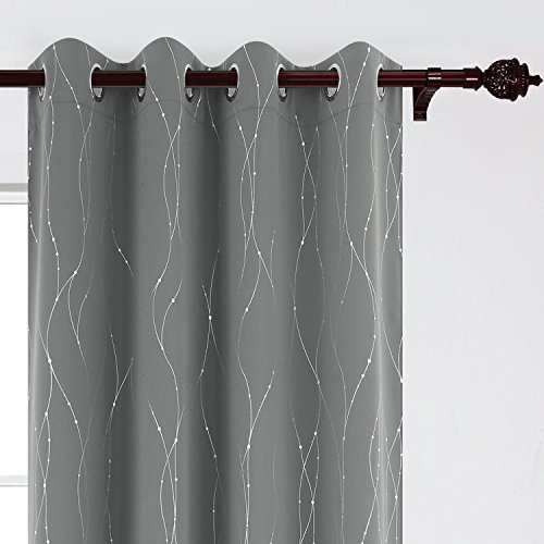 - Deconovo Blackout Grommet Curtains Pair Thermal Insulated Light Blocking Curtains with Dots Pattern for Sliding Glass Door 52 x 95 Inch Grey 2 Panels