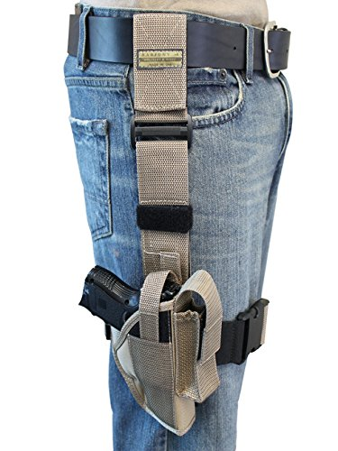 Barsony New Desert Sand Tactical Drop Leg Holster for Baby Eagle/Jericho Comp 9mm left