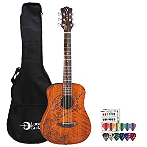 Luna Guitars Safari Tattoo SAF TAT 3/4 Travel Acoustic Guitar Kit