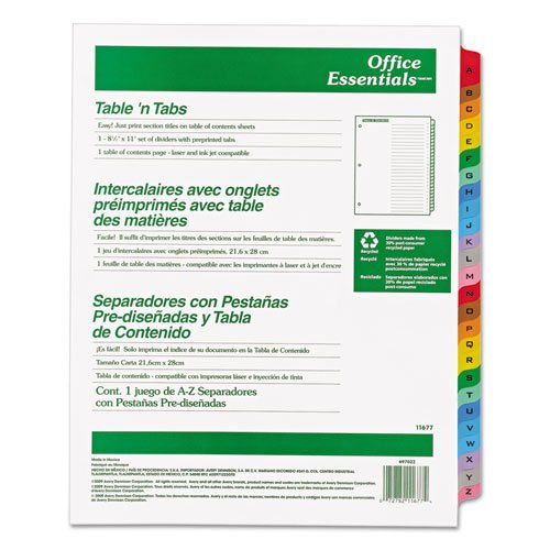 - Office Essentials 11677 Table 'n Tabs Dividers, 26-Tab, Letter