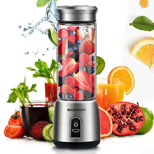 Portable Blender Personal Smoothie Blender Household Juicer Stainless Steel Fruit Shake Mixer With USB Rechargeable 14oz Travel Glass Cup