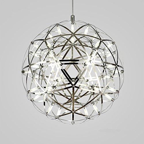 BOKT Firework Pendant Light 42 LEDs Modern Moooi Design Living Morden Simple Home Ceiling Light Fixture Spherical Chandeliers Stainless Steel Finish White Light-40CM