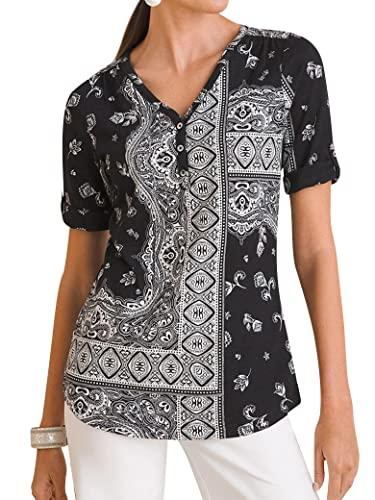 Epuyaito Women Ethnic Floral Print V Neck Rolled Short Sleeve Scoop Hem Henley Tee Top Black