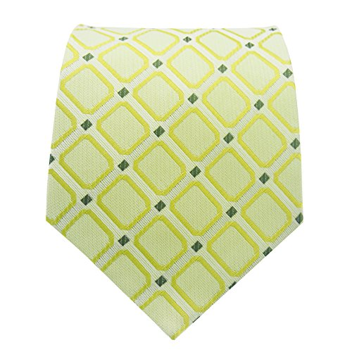 Green Stripe New Designer Necktie (PilotMan Men's Tie Stripe Green Neckties Plaid Check Silk Tie With Gift Box)