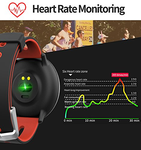 [2Band Steel&Silicone]Sport Fitness Tracker Smart Watch for Men Father Day Women IP67 Waterproof Heart Rate Blood Pressure Pedometer Sleep Monitor Activity Tracker Swim Run Outdoor iOS Android (Red) by GreaSmart (Image #3)