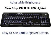 Ivation Large Print Letter Illuminated Full Size Multimedia Computer Keyboard - Clear White LED Lights Illuminate Each Key, Eliminating Stress to Your Eyes