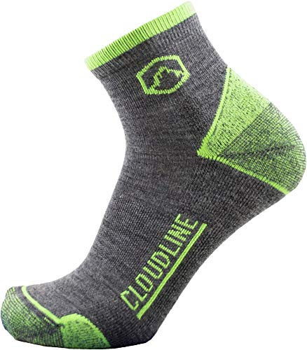 CloudLine Merino Wool 1/4 Top Running & Athletic Socks - Light Cushion - Large PNW Green - Made in the USA