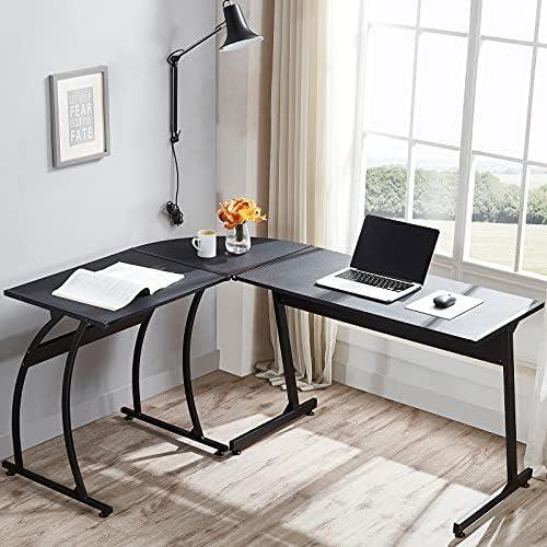 Frunimall L Shaped Gaming Desk 59″ Computer Corner Desk