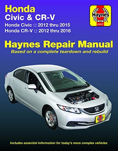 Honda Civic (12-15) & CR-V (12-16) Haynes Manual (Does not include information specific to CNG or hybrid models. Includes thorough vehicle coverage ... exclusion noted.) (Haynes Automotive) (Honda 2015)
