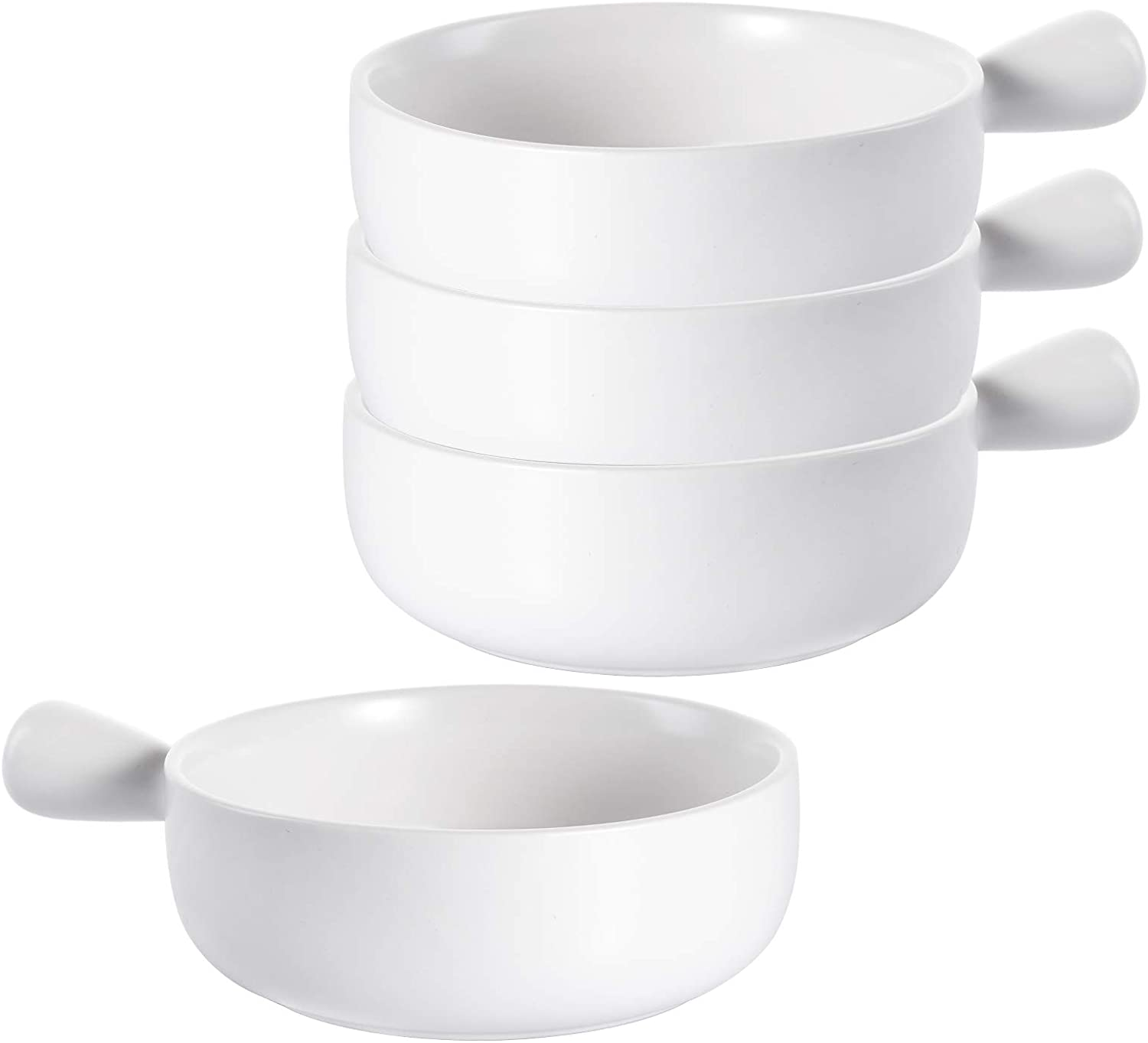 TOPZEA Set of 4 French Onion Soup Bowls with Handles, 15 Ounce Ceramic Serving Bowl Set Soup Crocks for Soup, Stew, Chilli, Cereal, Microwave and Oven safe, White