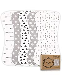Organic Burp Cloths for Baby Boys and Girls - 5-Pack Ultra Absorbent Burping Cloth, Burp Clothes, Newborn Towel - Milk Spit Up Rags - Burpy Bib for Unisex, Boy, Girl - Burp Cloths Set (Grayscape)