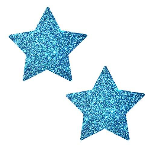 Neva Nude Bowie Blue Glitter Star Nipztix Pasties Nipple Covers -