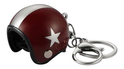 Générique Gran llavero joyas de bolsa casco Moto Granate rojo estrella Gris plateado