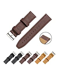 CIVO Watch Strap - Quick Release Top Genuine Grain Leather Watch Bands Smart Watches Straps 18mm 20mm 22mm (Dark Brown Leather / Dark Brown Stitching, 20mm)